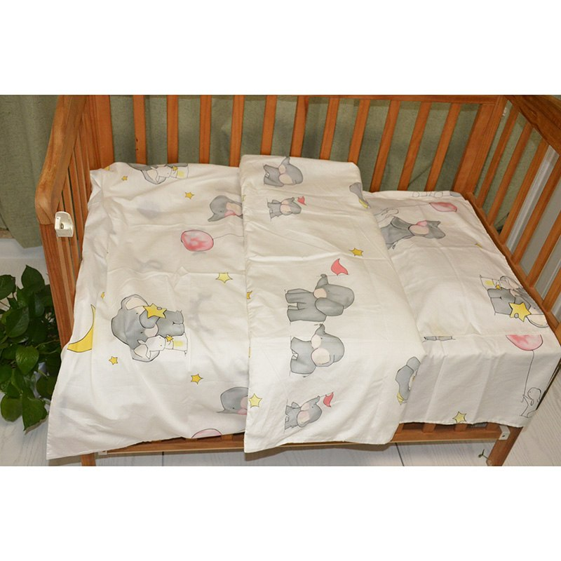 3Pcs Cotton Crib Bed Linen Kit Cartoon Baby Bedding Set Includes Pillowcase Bed Sheet Duvet Cover Without Filler - thefashionique