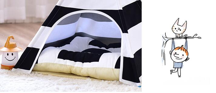 3Pcs/Lot PASAYIONE Stripped Tent For Puppy Large Animal Pet Products Cushions Warm Indoor Kitten Dog Cat Pet Sleeping Sofa Bed