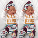 3Pcs Newborn Baby Girls Letter Print Romper Floral Striped Pants Headband Outfits Cotton Winter Clothes - thefashionique