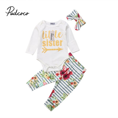 3Pcs Newborn Baby Girls Letter Print Romper Floral Striped Pants Headband Outfits Cotton Winter Clothes