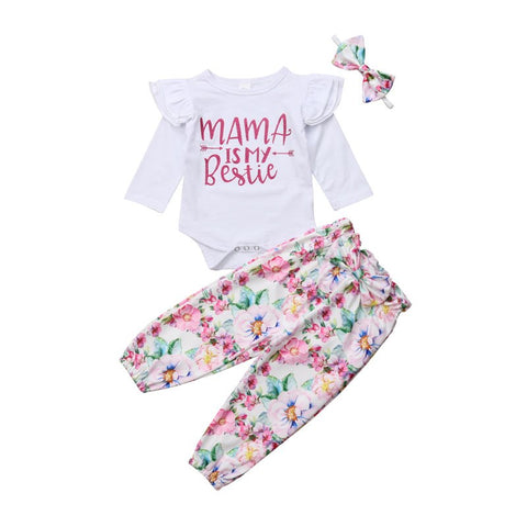 3Pcs Set Cute Baby Girls Long Sleeve Ruffles Tops Romper+Floral Printed Pants Headband Outfits Infant Autumn Baby Girls Clothes