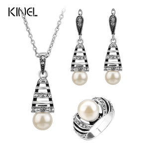 3Pcs Silver Color Pearl Jewelry Sets For Women Hollow Out Water Drop Necklace Earrings And Ring Vintage Wedding Jewelry Set - thefashionique