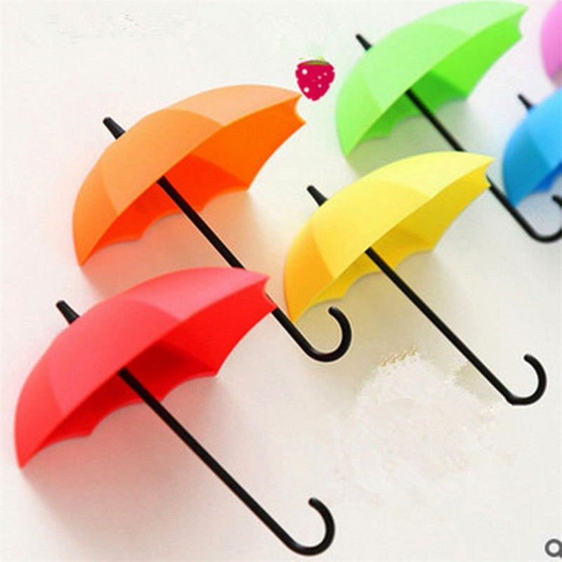 3Pcs/lot Umbrella Shaped Creative Key Hanger Rack Decorative Holder Wall Hook For Kitchen Organizer Bathroom Accessories - thefashionique