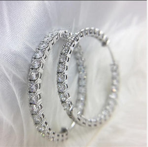 3mm Round Brilliant H&A Cut EF Color White Moissanite Solid 14K White Gold Hoop Earrings for Women 6CTW 60pcs