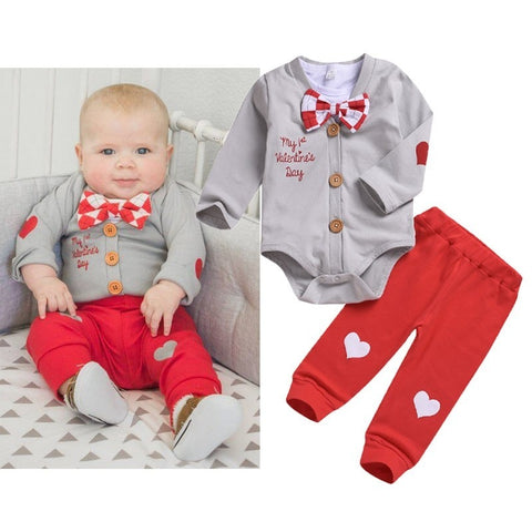 3pcs Boy Clothes Set Valentine Baby Boy Clothing Sets Infant Jumpsuits Gentleman Outfit Sets Bow Tie Shirt+Coat+pants - thefashionique