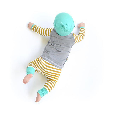 3pcs Newborn Infant Baby Boys Girls Clothes Set Striped T-shirt Tops+Pants Leggings +Hat Suits Babies Girl Clothing Sets