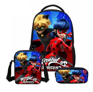 3pcs/Set School Bag Miraculous Ladybug Cat Noir Backpack Children Combination Bookbag Boys Girls School Backpack Daily Mochila - thefashionique