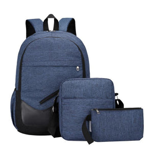 3pcs/Set Unisex Travel Canva Backpacks Teenager Shoulder Bags Clutch Women Men Backpacks School Students Bookbag Bolsa Mochila - thefashionique