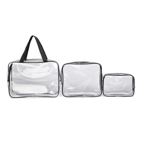 3pcs/lot Multi Functional Women Travel Sets Clear Transparent Toiletry Zip Pouch Plastic PVC Hand Shoulder Bags Makeup Cos Metic - thefashionique