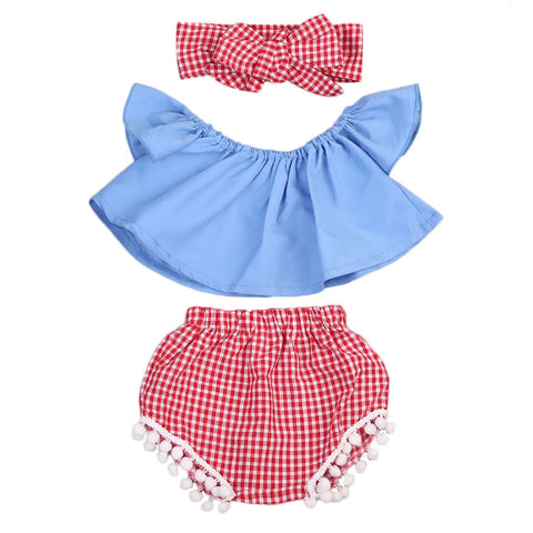 3pcs suit !! Toddler Baby Girl Clothes Set Off Shoulder Top T-Shirt+Shorts Pants +Hairband Outfit 2 Style - thefashionique