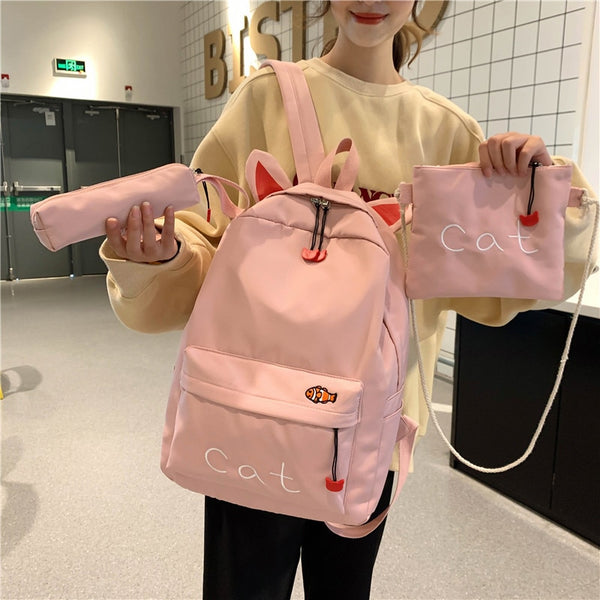 3set Casual School Bag Canvas Women School Backpack New School Bag Fashion Teenager Anti-theft Rucksack Mochilas Female Bagpack