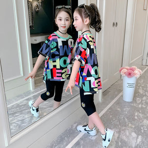 4-14T Children Clothing Girls Summer Clothing Set 2020 New Fashion Short Sleeve Casual O-neck Sport Suits High Quality