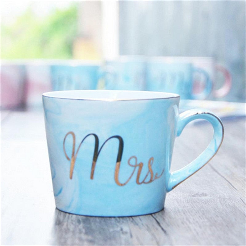 4 Colors Marble Ceramic Mugs Luxury Gold Handpainting Mr Mrs Couple Mugs Coffee Milk Tea Mugs Porcelain Breakfast Drinking Mug - thefashionique