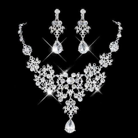 4 Colors Wedding Bridal Jewelry Sets & More for Women Silver White Shiny Crystal Necklace Set Drop Rhinestone Earrings - thefashionique