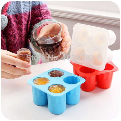 4-Cup Ice Cube Shot Shape Silicion Shooters Glass Freeze Molds Maker Tray Party Free Shipping #TH709