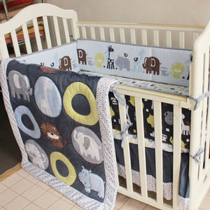4 Pcs 100% Cotton Baby Cot Bedding Set Newborn Cartoon Zoo Crib Bedding Detachable Quilt Pillow Bumpers Sheet Cot Bed Linen - thefashionique