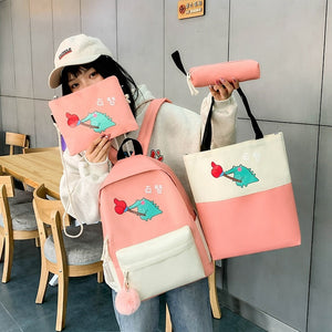 4 Pcs/Sets School Bags Teenage Girls Fashion Women Backpack Laptop School Backpack Rucksack Mujer Mochila Schoolbags For Girls