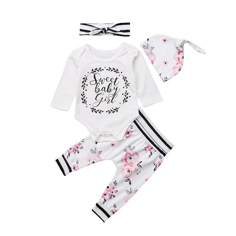 4 Pieces Newborn Baby Girls Cotton Flower Striped Tops Bodysuit and Long Pants and Hat Outfits Clothes Casual