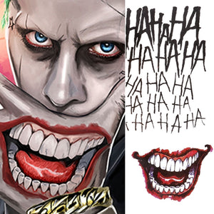 4 Styles Halloween Cosplay The Joker Temporary Tattoo Stickers Body Art Tattoos for Face Arm 20X29.6cm #255337 - thefashionique