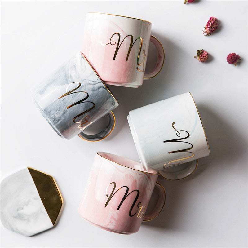 400ML Hand painted Marble Pattern Gold Mr and Mrs Mug Lover Travel Coffee Mugs Wedding Anniversary Gift - thefashionique