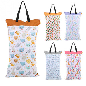 40x70cm Large Hanging Wet/Dry Diaper Bag Waterproof Reusable Cloth Diaper Inserts Nappy Laundry Storage Bag With Two Zippered - thefashionique