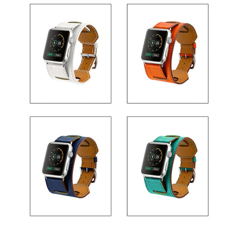 42mm 38mm Genuine Leather Cuff Bracelet Iwatch Band Strap Double Tour Chain Multi Mix Type Wristwatch Belt for Apple Watch