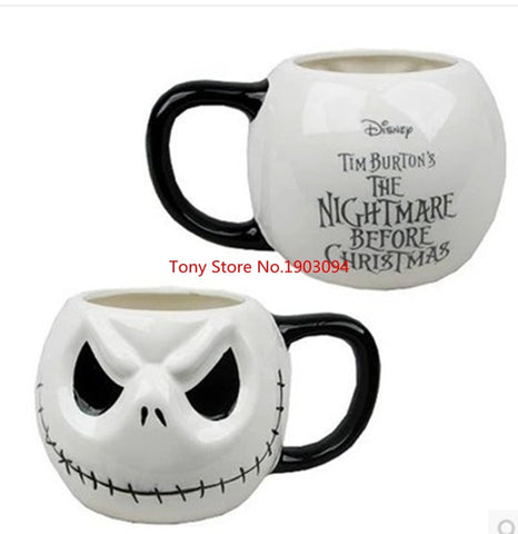"48pcs/lot Cartoon Jack Skellington MUGs ""The Nightmare Before Christmas"" Coffee MIlk Tea Skull Handgrip Never Spill Ceramics Cup - thefashionique"