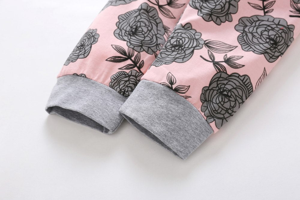 4PCS Baby Girls Clothes Long Sleeve Tops Pants Headband Hat Floral print Newborn clothes baby girl clothing toddler Outfits Set - thefashionique