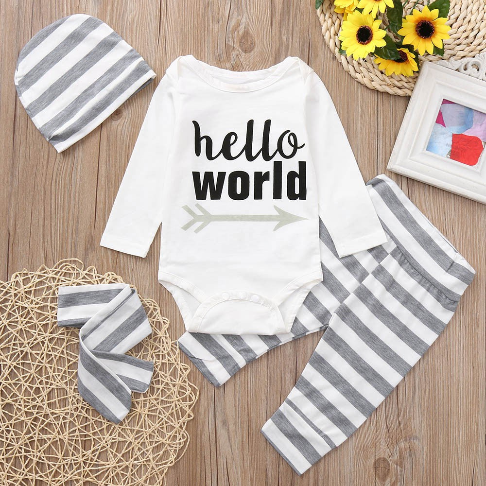 4PCS Toddler Baby Boys Girls Letter Print Romper+Stripe Print Cotton Blend Pants+Hat+Headband Set Outfit Baby Clothing set 30 - thefashionique