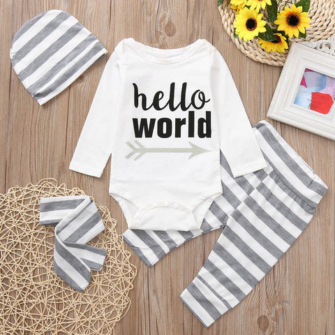 4PCS Toddler Baby Boys Girls Letter Print Romper+Stripe Print Cotton Blend Pants+Hat+Headband Set Outfit Baby Clothing set 30