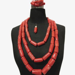 4UJewelry 12mm-20mm Nigerian Coral beads Necklace Jewelry Set 3 Layer Big Design 100% Genuine Coral Wedding Jewellery Set Dubai Traditional Gift Set For Women