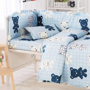 4pcs~10pcs Cute Bear Design Baby Bedding Set Crib Bedclothes Kit Protect Bumpers In Cot Cotton Baby Bed Linens Set Crib Bedding - thefashionique