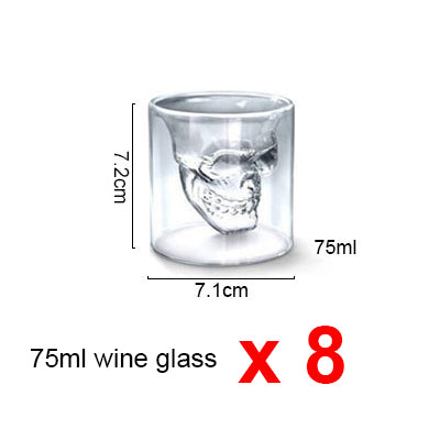 4pcs 8pcs 12pcs Doomed Skull Head Shot Glass Cup Beer Mug Wine Glass Mug Crystal Whisky Vodka Coffee Cup 25ml~150ml Gift Bottle - thefashionique