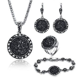 4pcs Black Broken Stone Vintage Wedding Jewelry Sets For Women Antique Silver Plated Crystal Pendant Necklace Earrings Ring Set - thefashionique