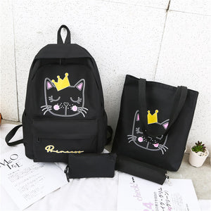 4pcs Fashion Cute Women Backpack Canvas Backbag School Bags Set New School Bag Teenager Anti-theft Shoulder Bag Female Mochilas