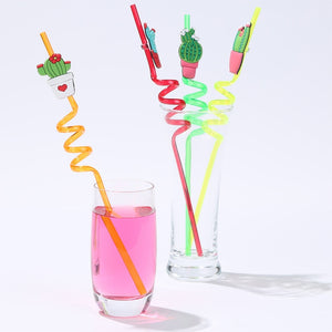 4pcs Prickly Pear Cactus PVC Silicone Drink Straw Reusable Drinking Straw Kids Party Supplies Bar Tools Kitchen Accessory