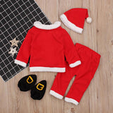 4pcs/Set Baby Christmas Cute Cosplay Costume Soft Warm Coat Pants Hat Socks Baby Clothes Christmas Clothes baby rompers - thefashionique