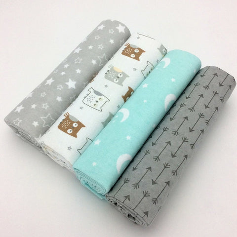 4pcs/lot newborn baby bed sheet bedding set 76x76cm for newborn crib sheets cot linen 100% cotton Flannel printing baby blanket - thefashionique