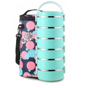 5-6 Layer Stainless Steel Lunch Box School Office Portable Lunch Food Storage Container Round Japanese Bento Lunch For Kid Adult