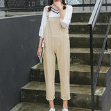 5 Colors Spring Autumn Women Overalls Korean Fashion Sweet Solid Cotton Female Jumpsuits Elegant Casual Loose Lady Harem Pants - thefashionique