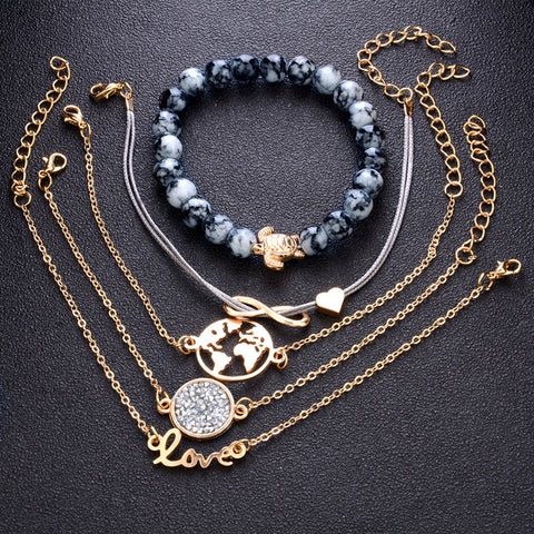 5 PCS/Set Boho Earth LOVE Heart Multilayer Bracelets for Women Crystal Charm Stone Beads Turtle Pendant Gold Bangle Cuff Jewelry - thefashionique
