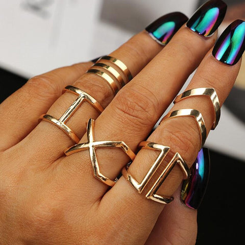 5 Pcs/ Set Classic Gold Colour V Chevron Rings Geometrical Irregular Ring Set Lady Charm Costume Jewelry Accessories Midi Rings - thefashionique