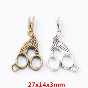 50 pieces of retro metal zinc alloy scissors pendant for DIY handmade jewelry necklace making 7064