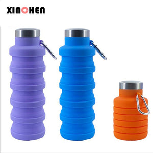 500ML Folding Water Bottle Portable Retractable Silicone Coffee Bottle Outdoor Travel Drinking Sport Drink Kettle