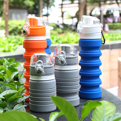 500ml Portable Collapsible Water Bottle Silicone Folding Sports Travel Hiking Camping Cycling Climbing Expandable Drink Bottle - thefashionique