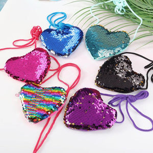 500pcs/lot Bling Sequins Heart Kids Shoulder Coin Bag Girls Mini Messenger Bag Cute Boys Coin Purse Children Handbags - thefashionique