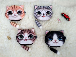 500pcs/lot Cartoon Cat Dog Coin Purse Cute Kids Purse Casual Zipper Children Wallet Girls Purse Small Money Bag Coin Card Holder - thefashionique