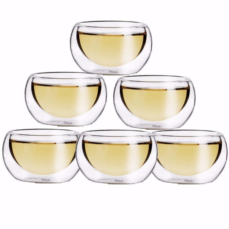 50ML Elegant Clear Drinking Cup Heat Resistant Double Wall Layer Tea Beer Cup Water Whisky Cup For Flower Tea - thefashionique
