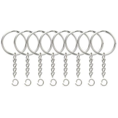 50Pcs Key Ring Outside Diameter 1.5*25mm+4 Section Chain +1 Open Circle DIY Craft Supplies Arts,Crafts & Sewing