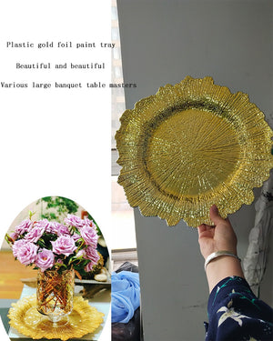 50pcs 35cm plastic gold foil paint plate, main plate pad, candle holder, table main plate, decorative plate - thefashionique